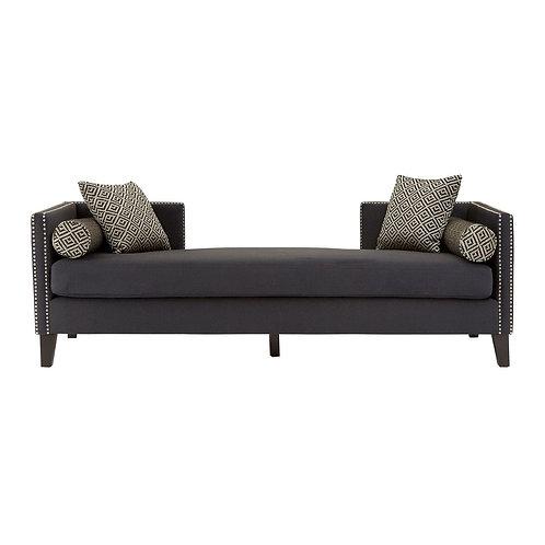 LUXE Reginy Dark Grey Velvet 3 Seat Day Bed Sofa