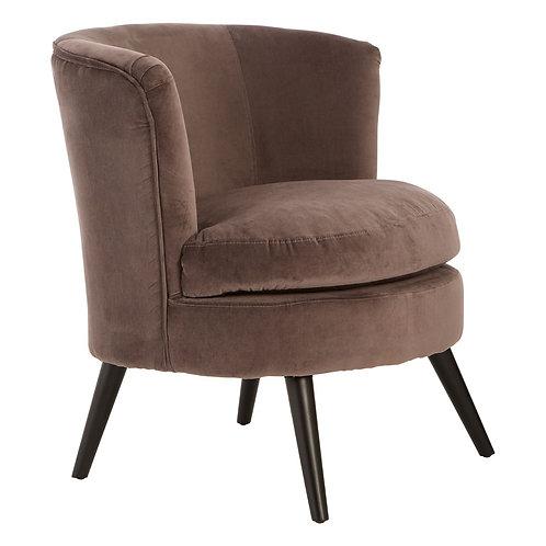 LUXE Round Grey Velvet Plush Armchair