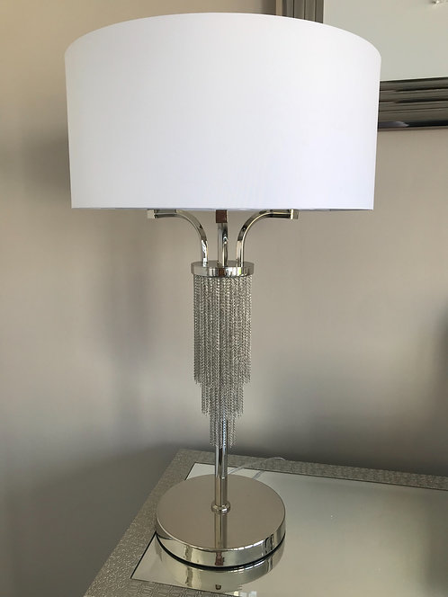 NICKEL CHAIN TABLE LAMP WHITE
