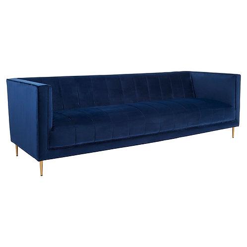 STOCK CLEARANCE BRAND NEW Otylia Deep Blue Velvet 3 Seat Sofa