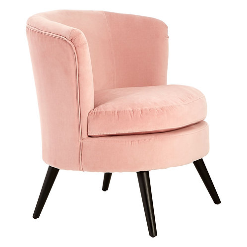 LUXE Round Pink Velvet Plush Armchair