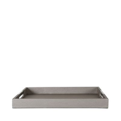 PEWTER FAUX LETHER TRAY