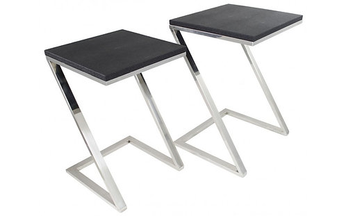 STOCK CLEARANCE BRAND NEW SET OF TWO BLACK FAUX LEATHER SIDE TABLES