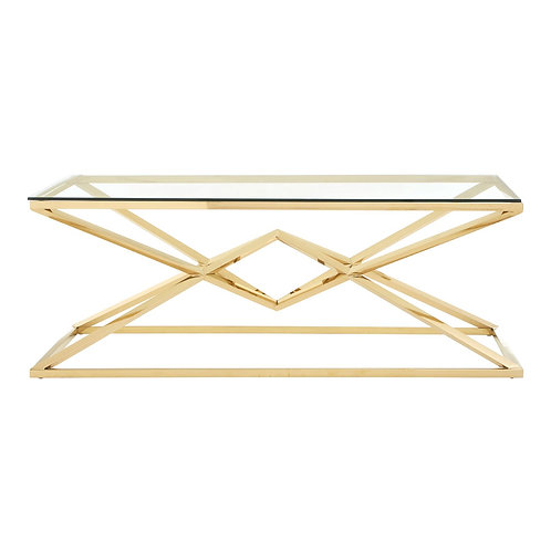 LUXE Allure Corseted Champagne Rectangle Coffee Table