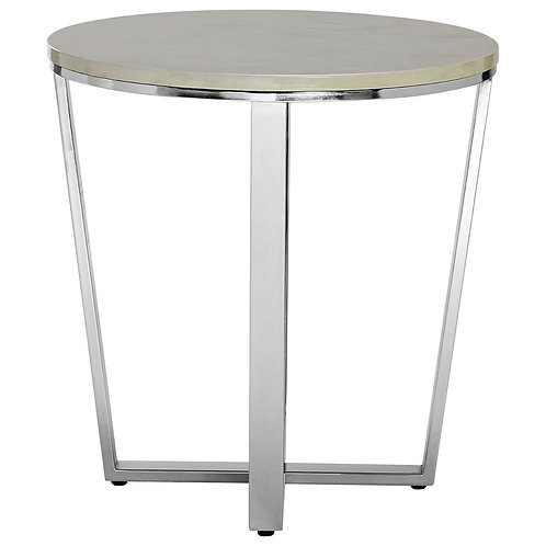 LUXE Allure Round White Faux Marble End Table