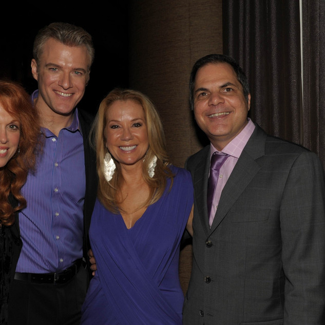David Armstrong with Kathee Lee Gifford, Carolee Carmello and Ed Watts at opening of Saving Aimee at The 5th Avenue Theatre