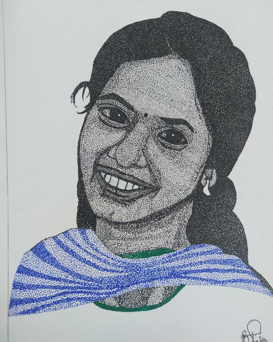 Very frst pointillism work done by dharani