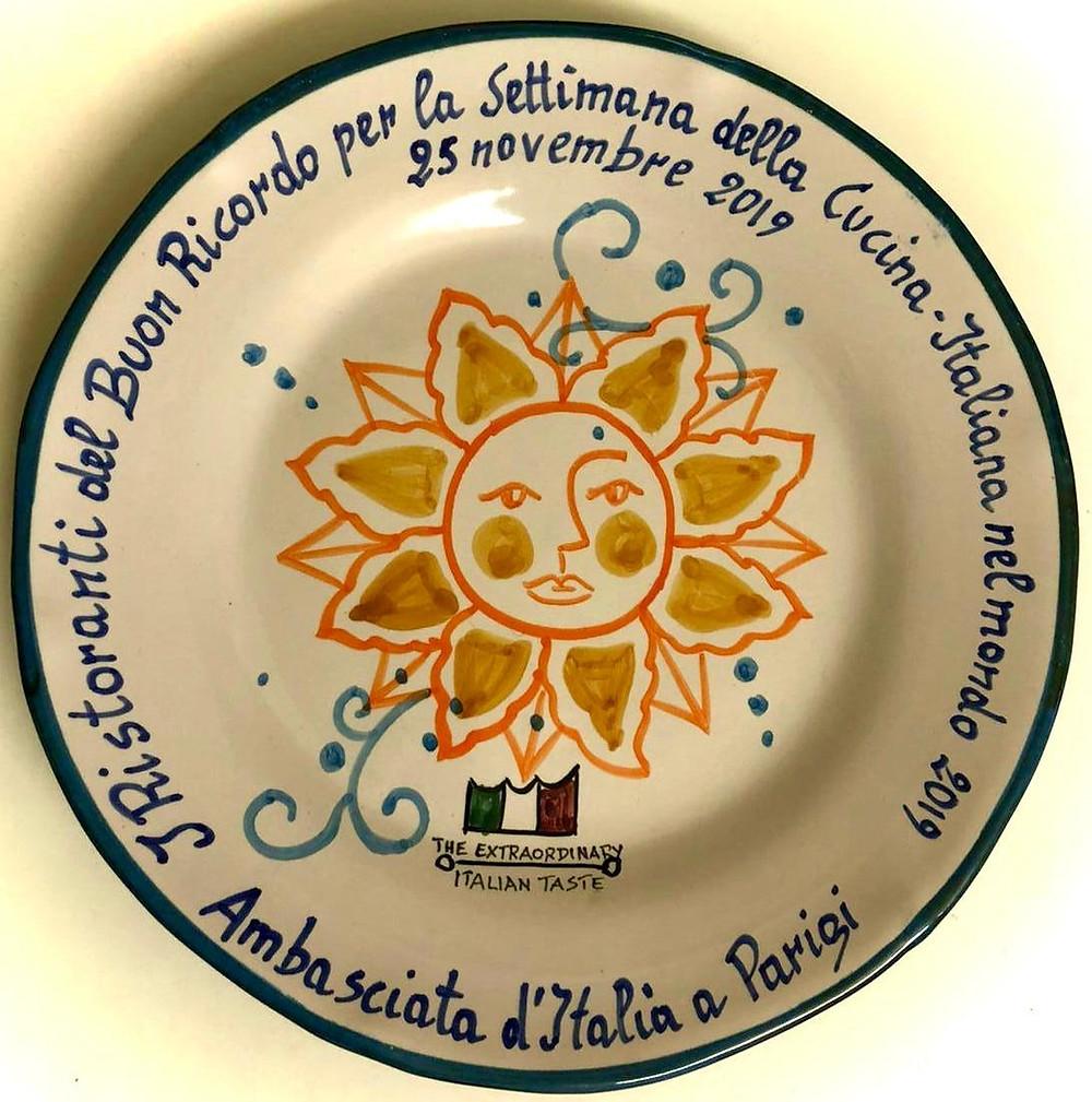 Assiette Buon Ricordo semaine de la cuisine italienne mondiale.