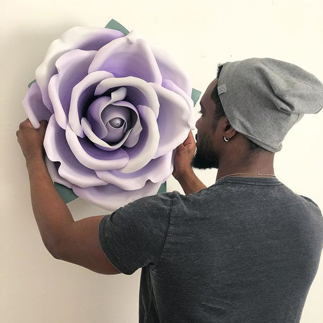 My husband helping me hang this lavender