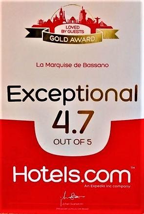 Hotels,com gold award B&B La Marquise de Bassano rating Exceptionnal 4.7 on 5 hotels.com