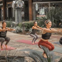 Morning yoga squats!