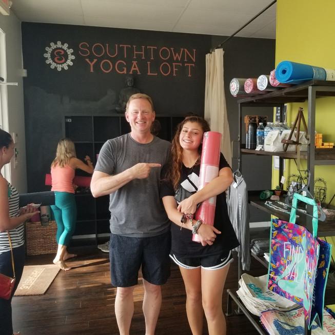 Someone just won a yoga mat!