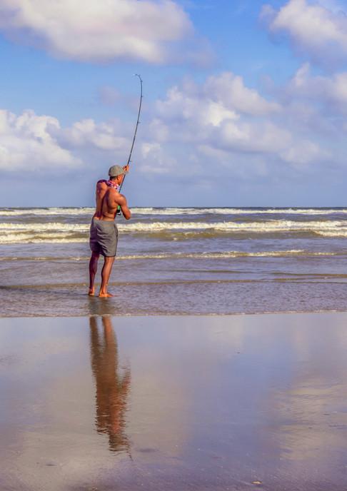 Galveston Beach Fisherman