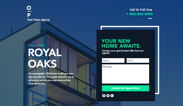 Business website templates – Real Estate Landing Page