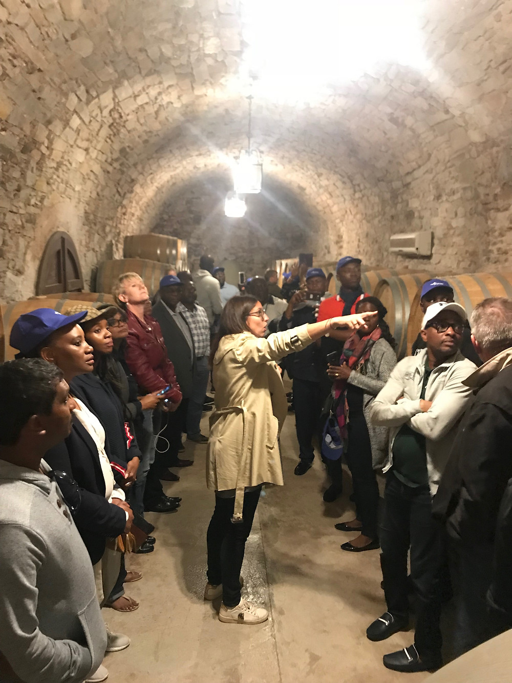 Showing to Sysmex the caves of the winery