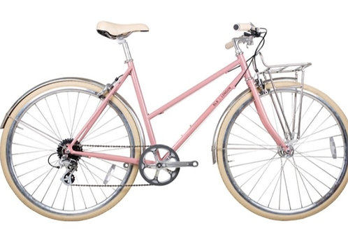 BLB Brick Lane Bikes Butterfly ladies town bike 8 speed step through pink bike