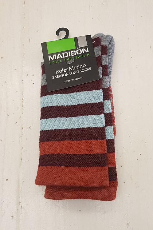 Madison Isoler Merino 3 Season Cycling Socks Burgundy