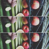 Apples, cucumber, ginger, celery, kale