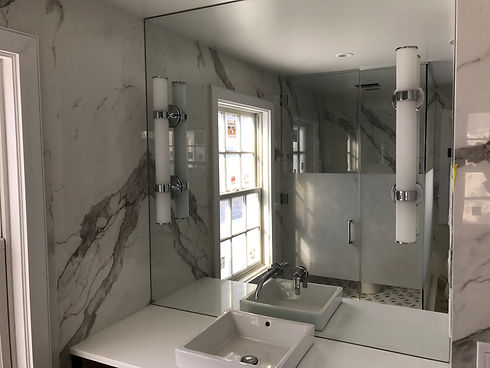 Frameless glass shower doors glass table tops and antique mirrors installation in New York and New Jersey Glass'R'us low price backsplash for kitchen steam swing splash panel