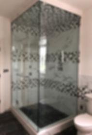 Cut out glass shower door