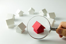 House searching concept with a magnifyin