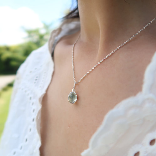 MIRROR / GREEN AMETHYST NECKLACE