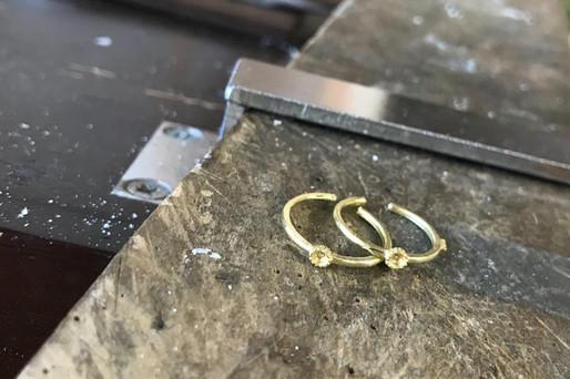 K18ゴールド天然石リング制作