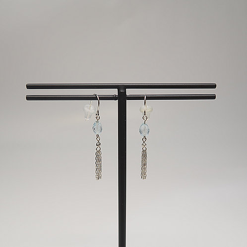 CHAIN TASSEL EARRINGS/BLUE TOPAZ
