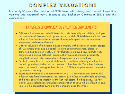 Estate & Gift Tax - Clients & Advisors - Complex Valuations