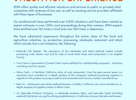 Seafood Industry Valuation Experience