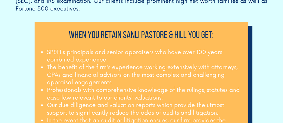 Estate & Gift Tax Valuations - Experience, Knowledge of Law, Expert Witness Services