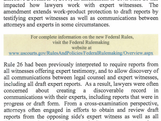 Significant Rule Changes For Expert Witness Reports in Federal Court