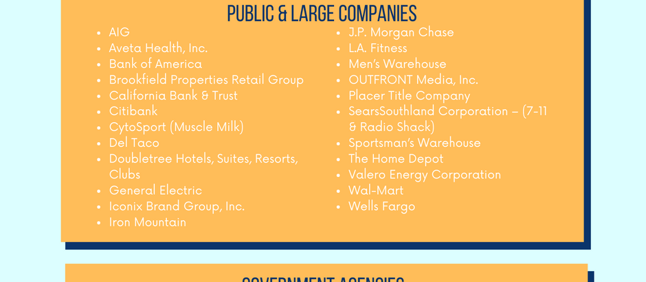 Fortune 1000 Clients & Other Large Clients