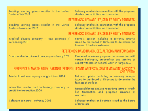 Solvency Opinions - References