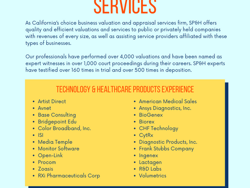 Valuation Experience - Technology & Healthcare Services