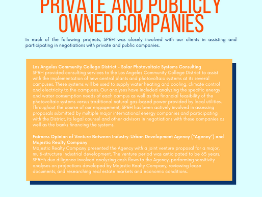 Public Entity Client Engagements Involving Private & Publicly Owned Companies