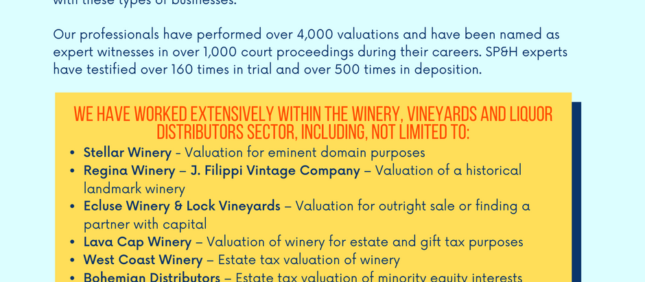 Wineries, Vineyards & Distributors Experience