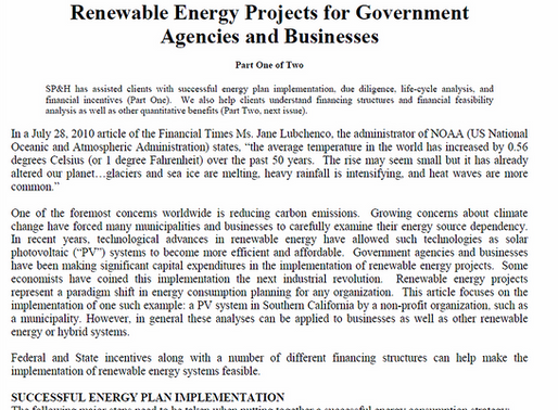 Renewable Energy Projects for Government Agencies and Businesses Part One of Two