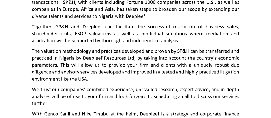 Announcement: SP&H Has Partnered with Deepleef Resources Limited