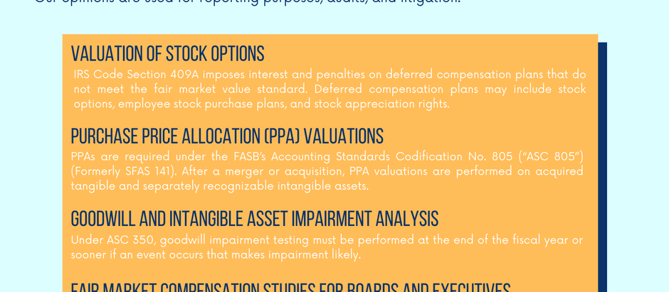 Business Valuations for Financial & Tax Reporting