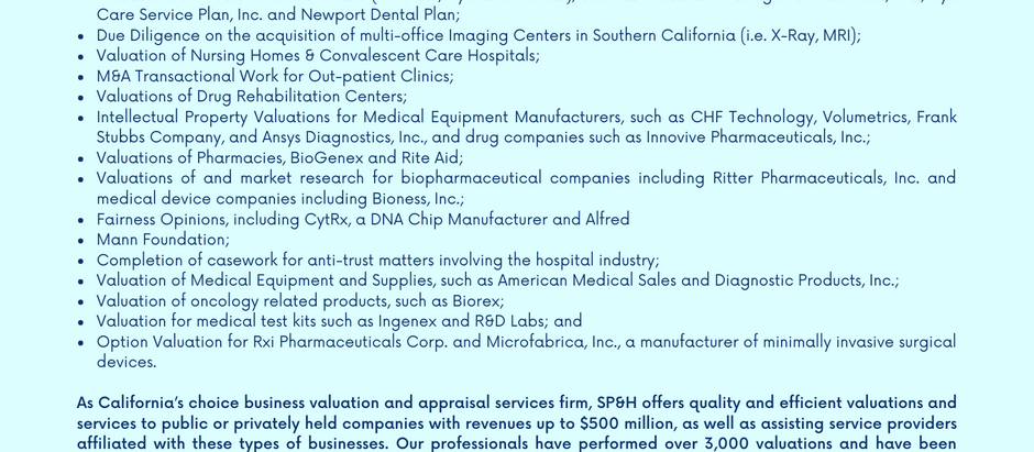 Healthcare & Life Sciences Industry Valuation Experience