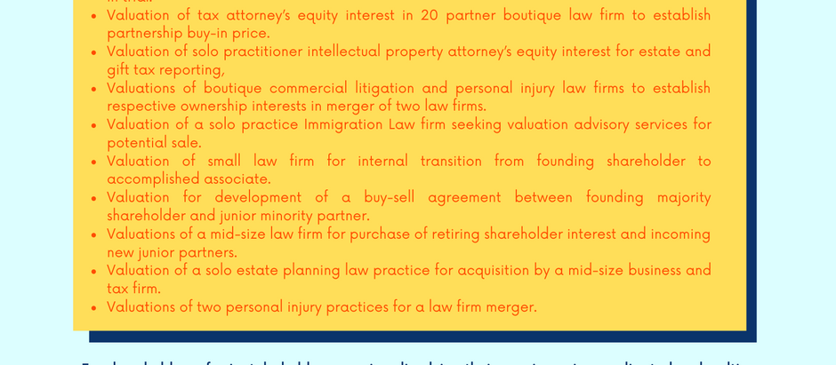 Law Firm Valuation Experience