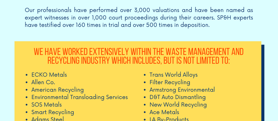 Valuation Experience - Waste Disposal Systems & Recycling Companies