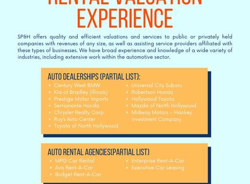 Auto Dealerships & Auto Rental Valuation Experience