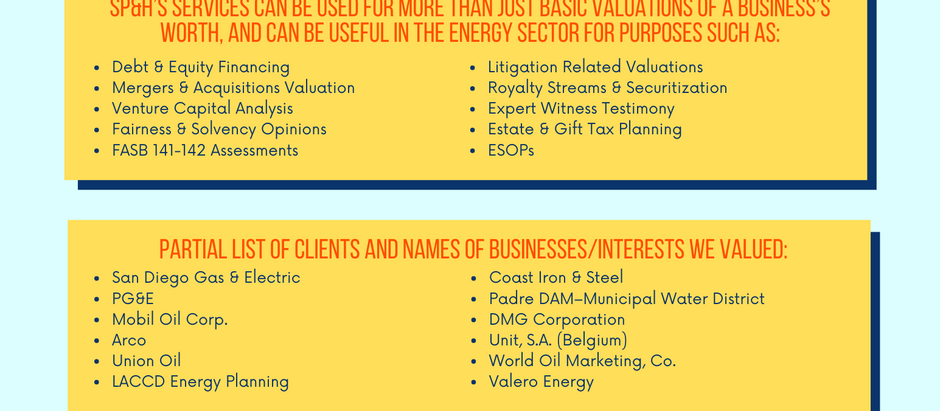 Oil, Gas & Energy Sector Valuation Experience