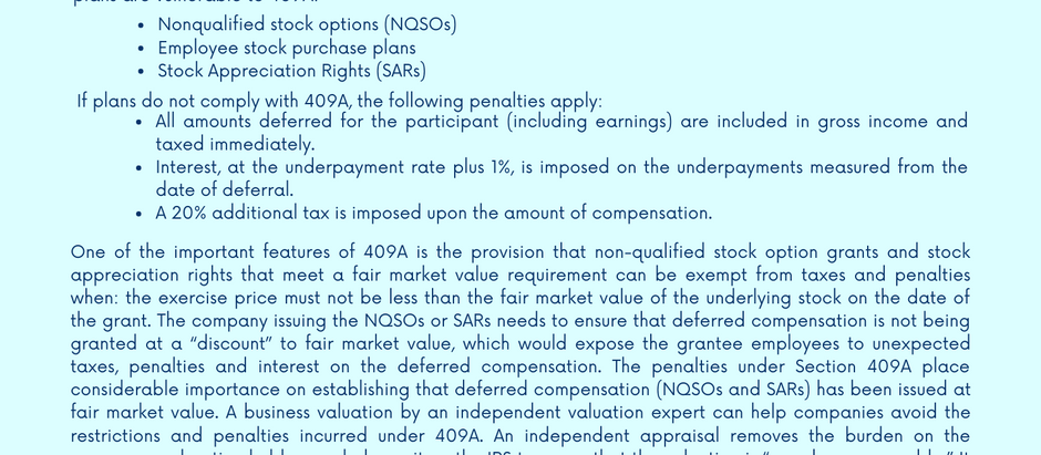 Section 409A Requires an Independent Valuation
