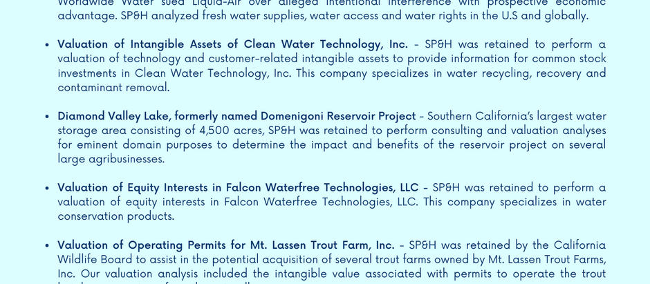 Water Rights, Intangible Assets & Industry Experience