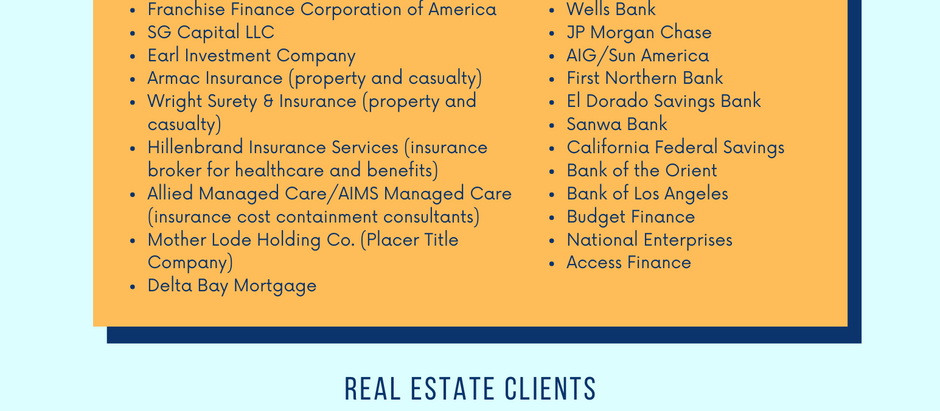 Financial Institution, Insurance Company, & Real Estate Clients