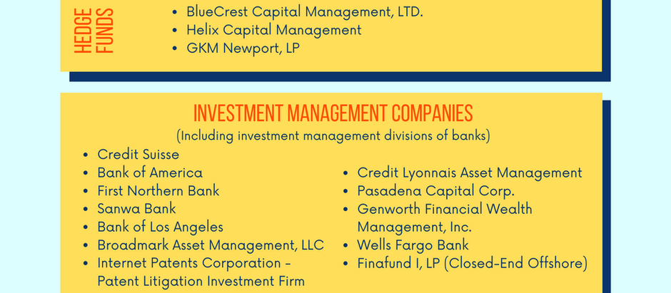 Private Equity Firms, Hedge Funds, Investment Management Company Experience