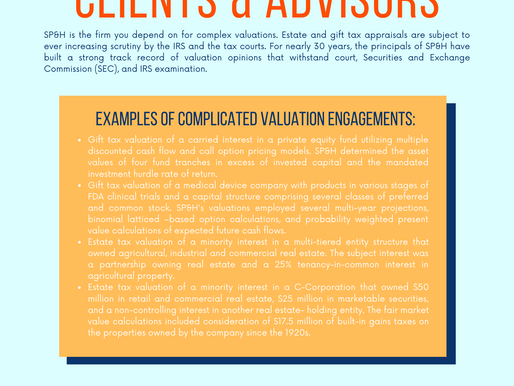 Estate & Gift Tax - Clients & Advisors - Complicated Valuations